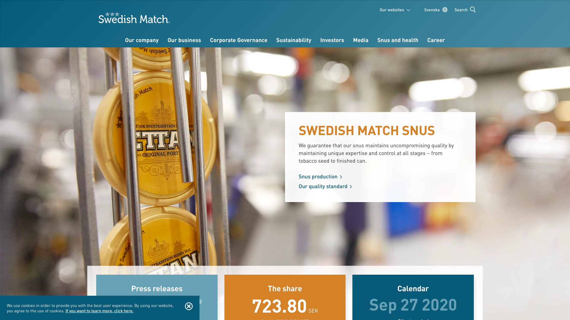 Swedish Match - manufactures, and sells quality products in the areas snus, moist snuff, nicotine pouches, chewing tobacco, cigars, and lights
